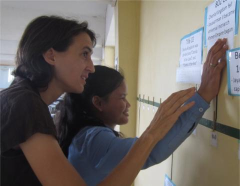 Maryknoll Lay Missioner Maria Montello with blind student 2018