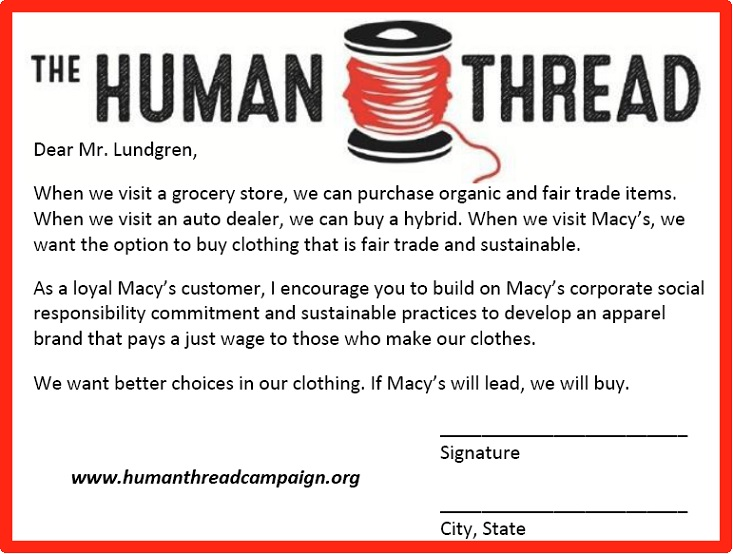 Human Thread Campaign postcard to Macy's